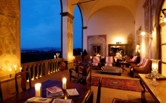 The terrace by night at the hotel