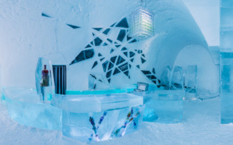 Interior at ice Hotel, luxury hotel in Swedish Lapland, Sweden