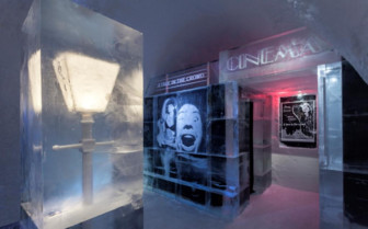 Ice cinema at Ice Hotel, luxury hotel in Swedish Lapland, Sweden
