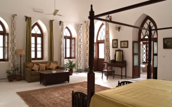 Bedroom at Shapura Bagh, luxury hotel in India