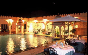 The poolside restaurant at night
