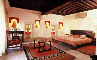 Bedroom at Rohet Garh, luxury hotel in India