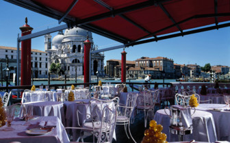 The terrace at the water at Bauer Il Palazzo