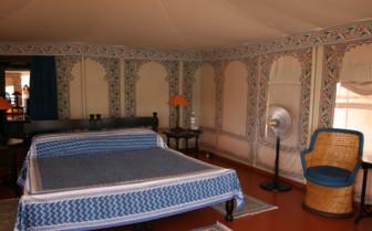 The bedroom tent interior at Chhatra Sagar
