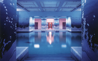 The indoor swimming pool at Umaid Bhawan hotel