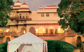 Private dining and exterior at Rambagh Palace, luxury hotel in India