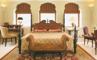 Large bedroom at Rambagh Palace hotel