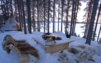 Outdoor fireplace at the camp