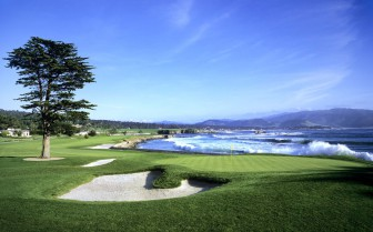 Golf course at the beach at Pebble Beach Resort, luxury hotel in Big Sur