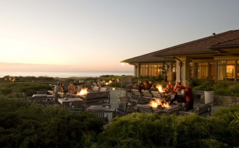The resort terrace with fireplace in the evening