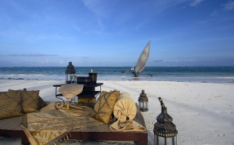The beach at The Palms, luxury hotel in Tanzania