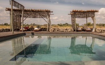 The pool area at Chem Chem, luxury lodge in Tanzania