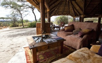 Outdoor lounge at Olivers Camp