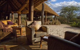 The lounge at Olivers Camp, luxury camp in Tanzania