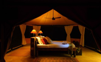 Tents at Siwandu hotel, luxury camp in Tanzania