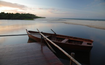 The ocean after sunset at Ras Kutani, luxury hotel in Tanzania