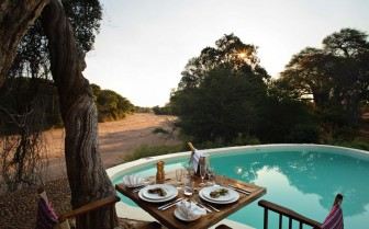 Dinner table overlooking the sand river
