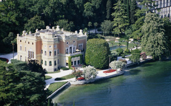 Aerial view of Villa Feltrinelli, luxury hotel in Italy
