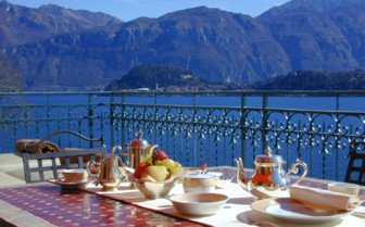 Breakfast table at the terrace at Grand Hotel Tremezzo