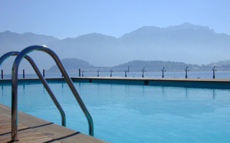 The swimming pool at Grand Hotel Tremezzo, luxury hotel in Italy