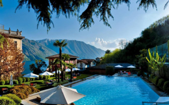 Pool with mountain view at Grand Hotel Tremezzo, luxury hotel in Italy