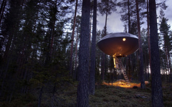 Ufo exterior at Treehotel, luxury hotel in Sweden