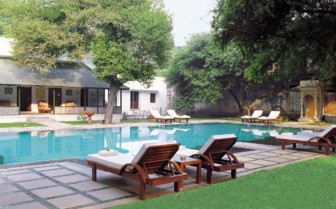 The swimming pool at Usha Kiran Palace