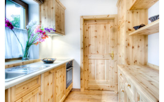 Wooden kitchen at Casa Antersies