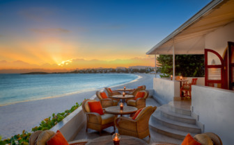 The sunset terrace at the hotel