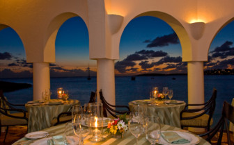 The terrace restaurant at Cap Juluca, luxury hotel in Anguilla