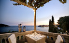 Dining on the restaurant terrace at Villa Orsula, luxury hotel in Croatia