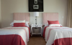 The twin bedroom at Sea Five, luxury hotel in Cape Town, South Africa