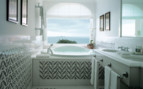 Luxury bathroom with ocean view