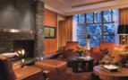 Living room area at Four Seasons Whistler, luxury hotel in British Columbia, Canada