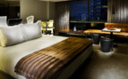 Large bedroom at SLS Beverly Hills Hotel, luxury hotel in Los Angeles