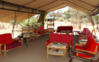 The lounge at Mdonya Old River Camp, luxury camp in Tazania