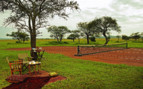 The tennis court at Singita Sabora Tented Camp