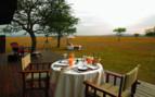 Outdoor breakfast at Singita Sabora Tented Camp, luxury camp in Tanzania