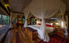 Luxury bedroom tent at Zafara Camp, luxury camp in Botswana