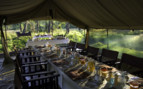 Outside breakfast at Dunia Camp, luxury camp in Tanzania