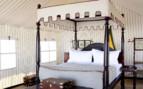 Luxury bedroom tent at Sans Camp, luxury camp in Botswana