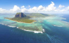 Aerial Island view of Mauritius