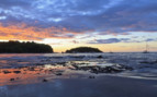 Sunset over beach in Papagayo Peninsula