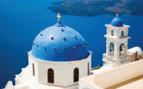 Santorini blue domes