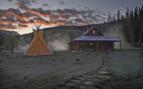 Dunton Hot Springs bathhouse on a misty morning