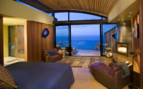 Bedroom with ocean views at Post Ranch Inn