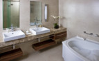 Bathroom with bathtub at Monte Mulini, luxury hotel in Croatia