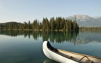 Canoe in the Rocky Mountains