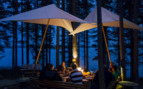 The camp exterior at Aurora Safari Camp, luxury hotel in Sweden