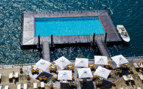 Aerial view of the pool and the terrace from room at Grand Hotel Tremezzo